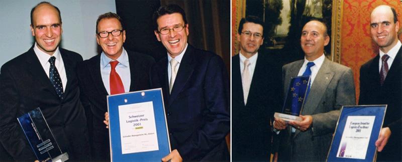 SGL Schweiz. Logistikpreis 2001 in Basel: Stefan Kreidler (Schindler) - Kurt Aeschbacher - GB (Schindler) | ELA Award 2001 in Brüssel: GB - MAR - Stefan Kreidler (alle Schindler)